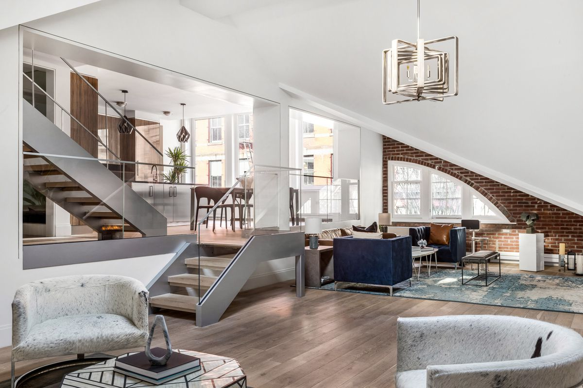 Sleek Soho penthouse with a sunken great room asks $10M | 6sqft