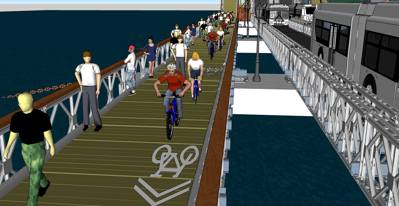 L-ternative bridge, pontoon bridge, L train