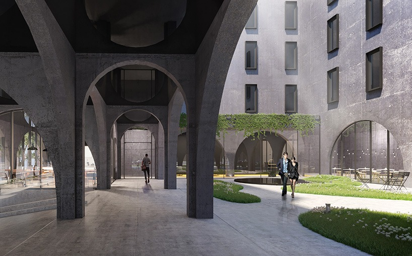 New renderings for oda 39 s archway filled hotel in crown - Hotel interior and exterior design ...