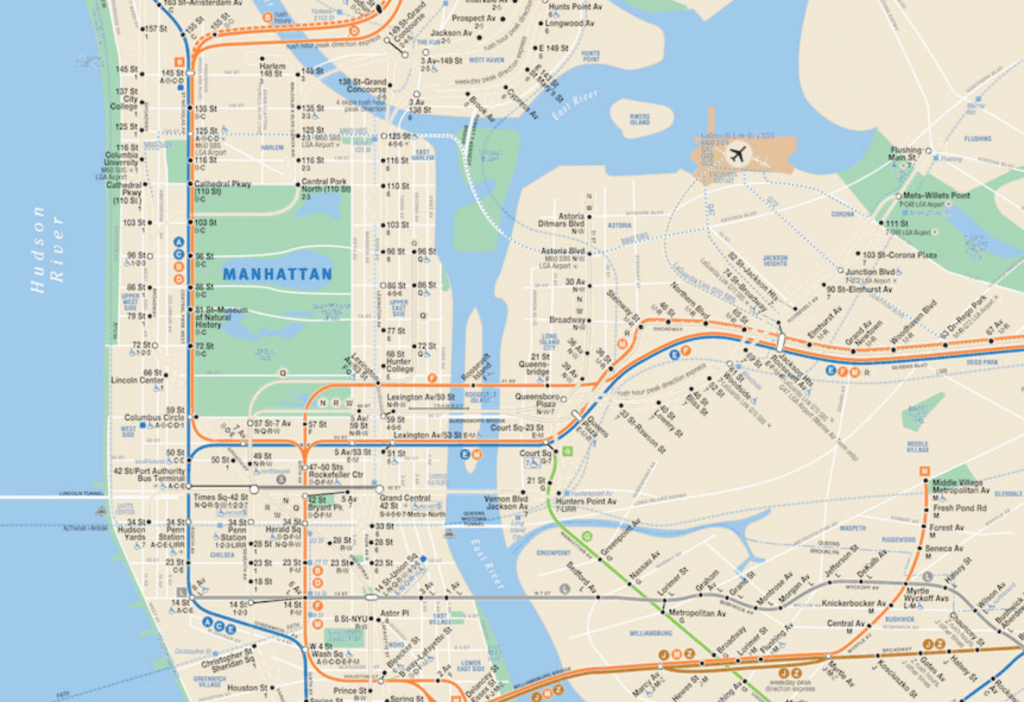 Current Ny Subway Map.The Real Mta Map Shows Only The Subway Lines That Are Currently