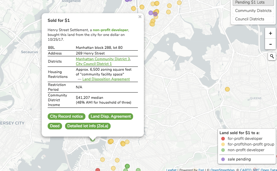 This map shows you the vacant lots in NYC that were sold by the city ...