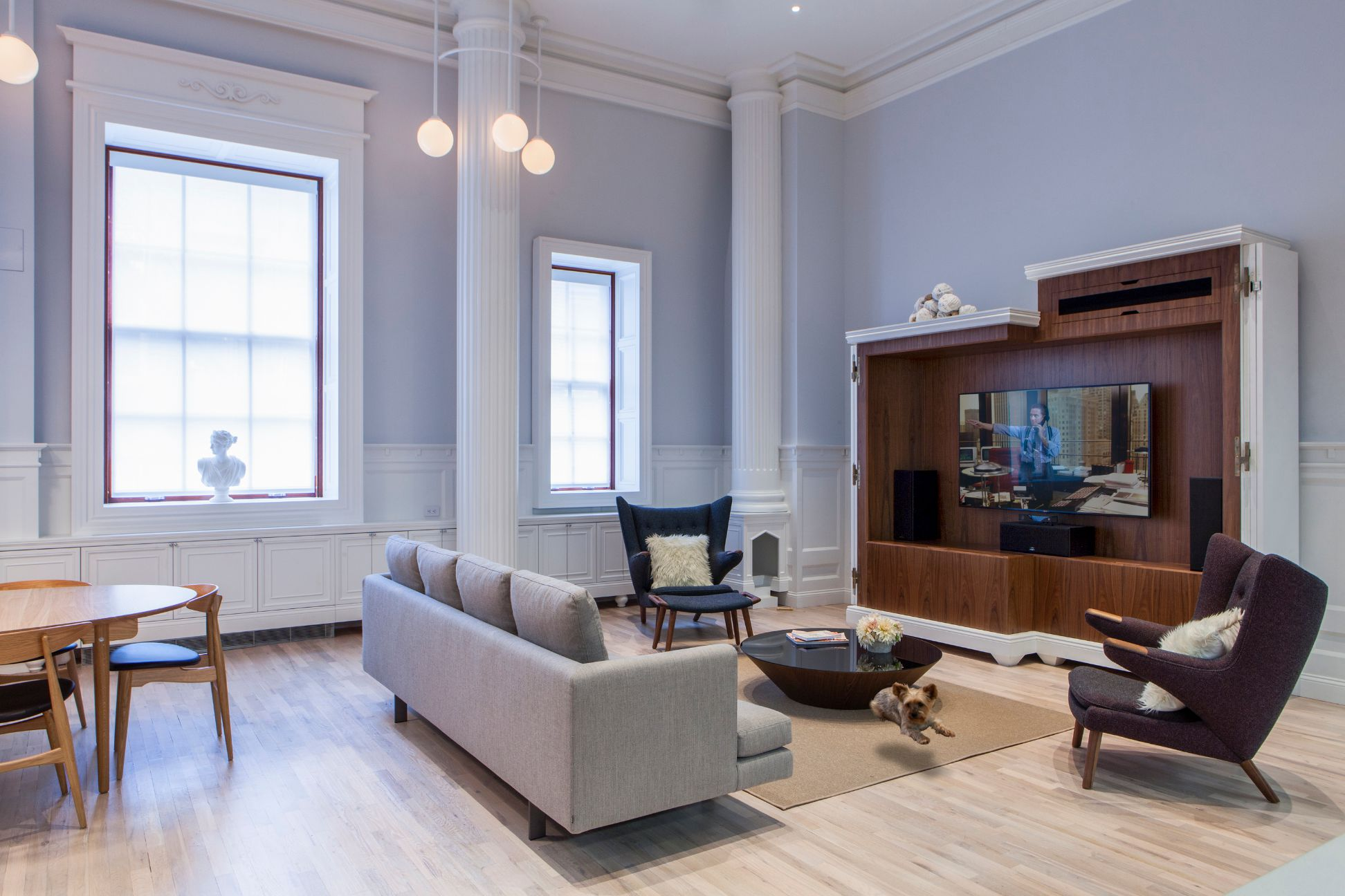 To convincingly reproduce interior details that match the second empire style of the building we carefully studied the exterior and other projects from the