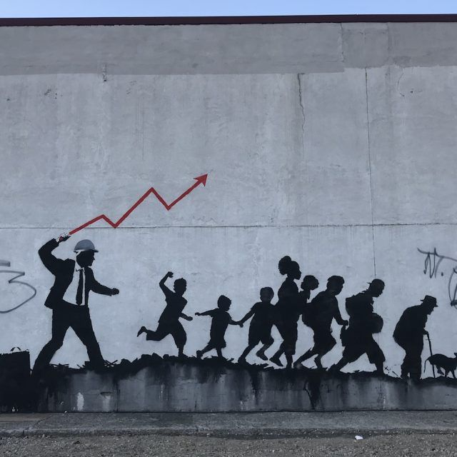 More Banksy work pops up in Brooklyn, this time commenting on capitalism and real estate