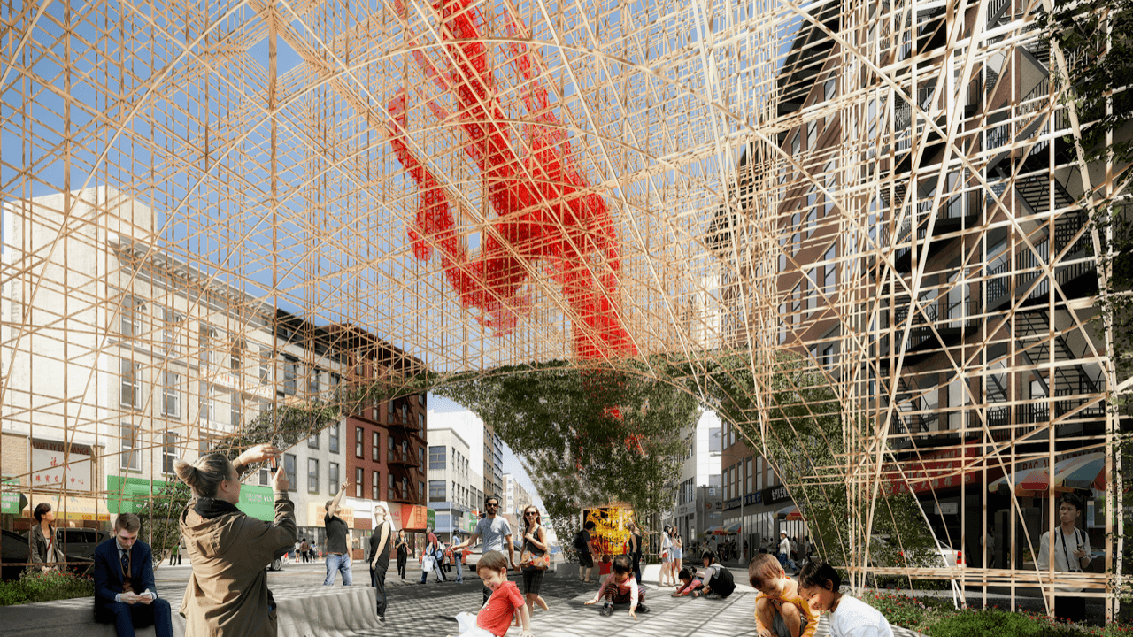 ODA Architects, Dragon's Gate, Chinatown Pavilion, public art NYC