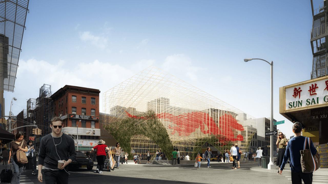 ODA Architects, Dragon's Gate, Chinatown Pavilion, public art NYC