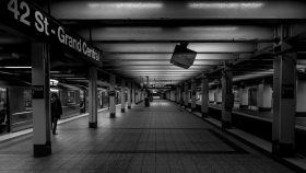 Grand Central, subway, black and white