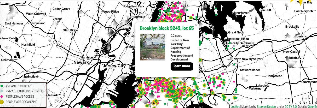 Living Lots NYC, Maps, community gardens