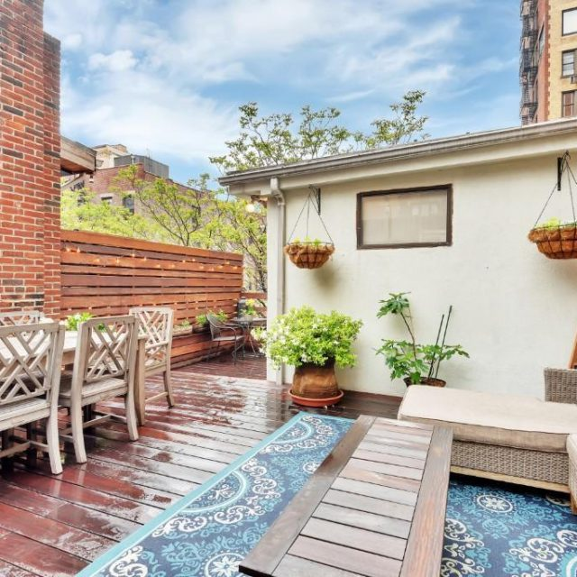 Asking $1.5M, this classic Upper West Side duplex has a private rooftop escape with an outdoor shower
