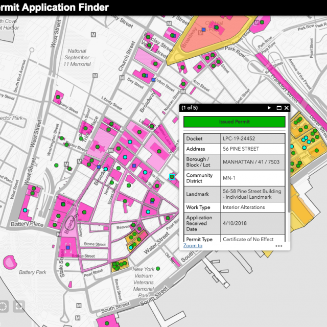 LPC's new interactive map shows pending and issued permits for landmarked buildings