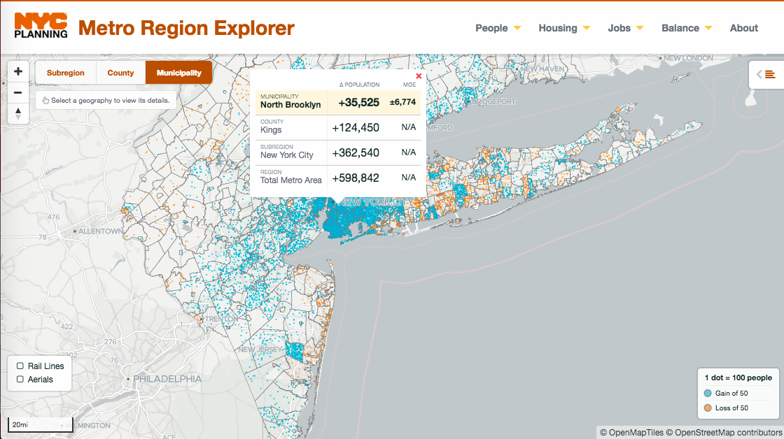 metro region explorer, maps, tri state area, population, job growth