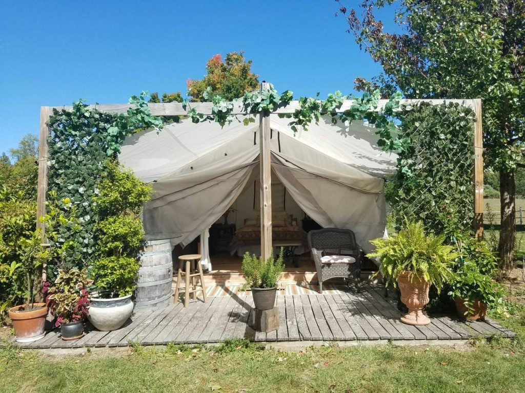 Private farm glamping tent