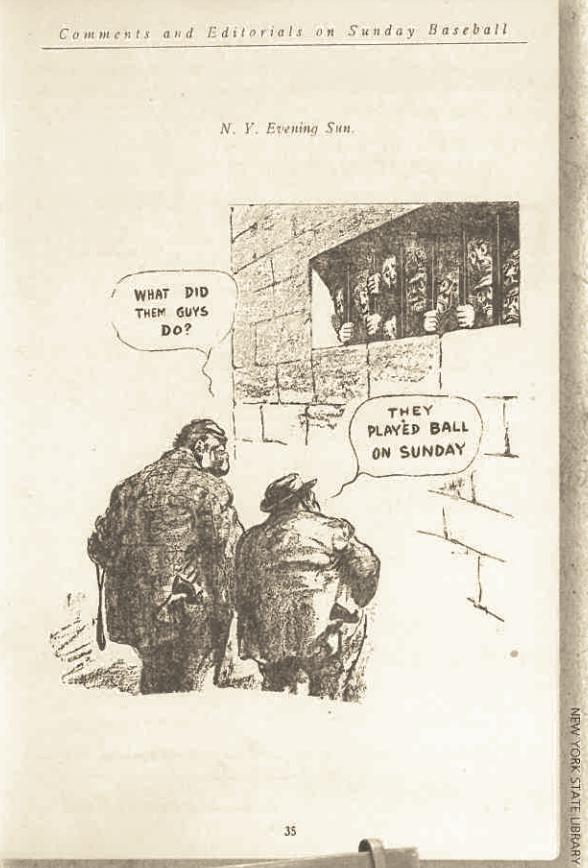 sunday baseball, baseball, blue laws, history