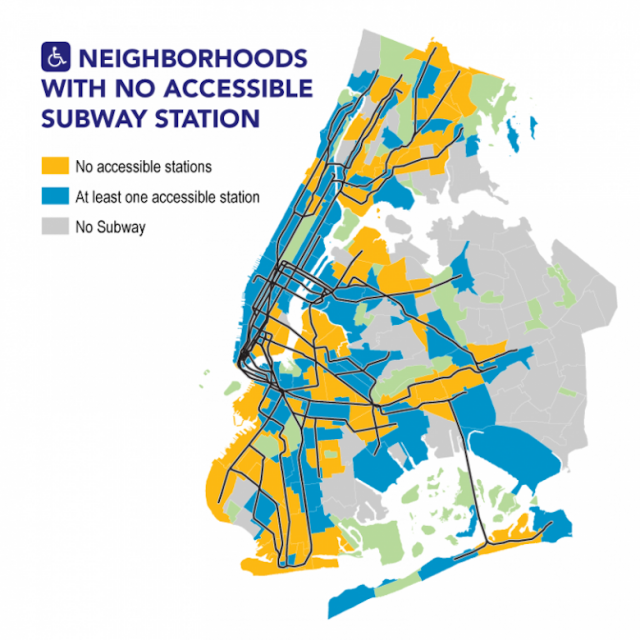 62 New York City neighborhoods lack an accessible subway station
