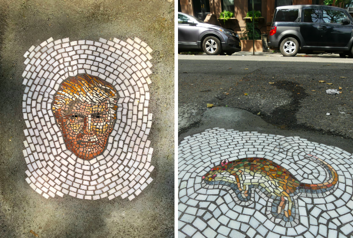 Meet the man filling potholes with mosaics of NYC vermin (and Donald Trump)