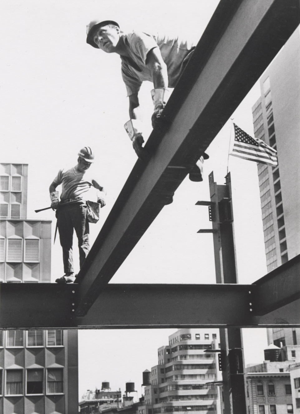 Mohawk Ironworkers Jay Jacobs and Sparky Rice Walking Iron on Park Avenue  ca. 1970 via the Smithsonian