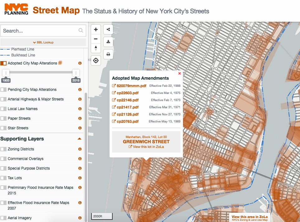 Street Map Of New York City.Interactive Map Displays Changes In New York City S Street Grid Over