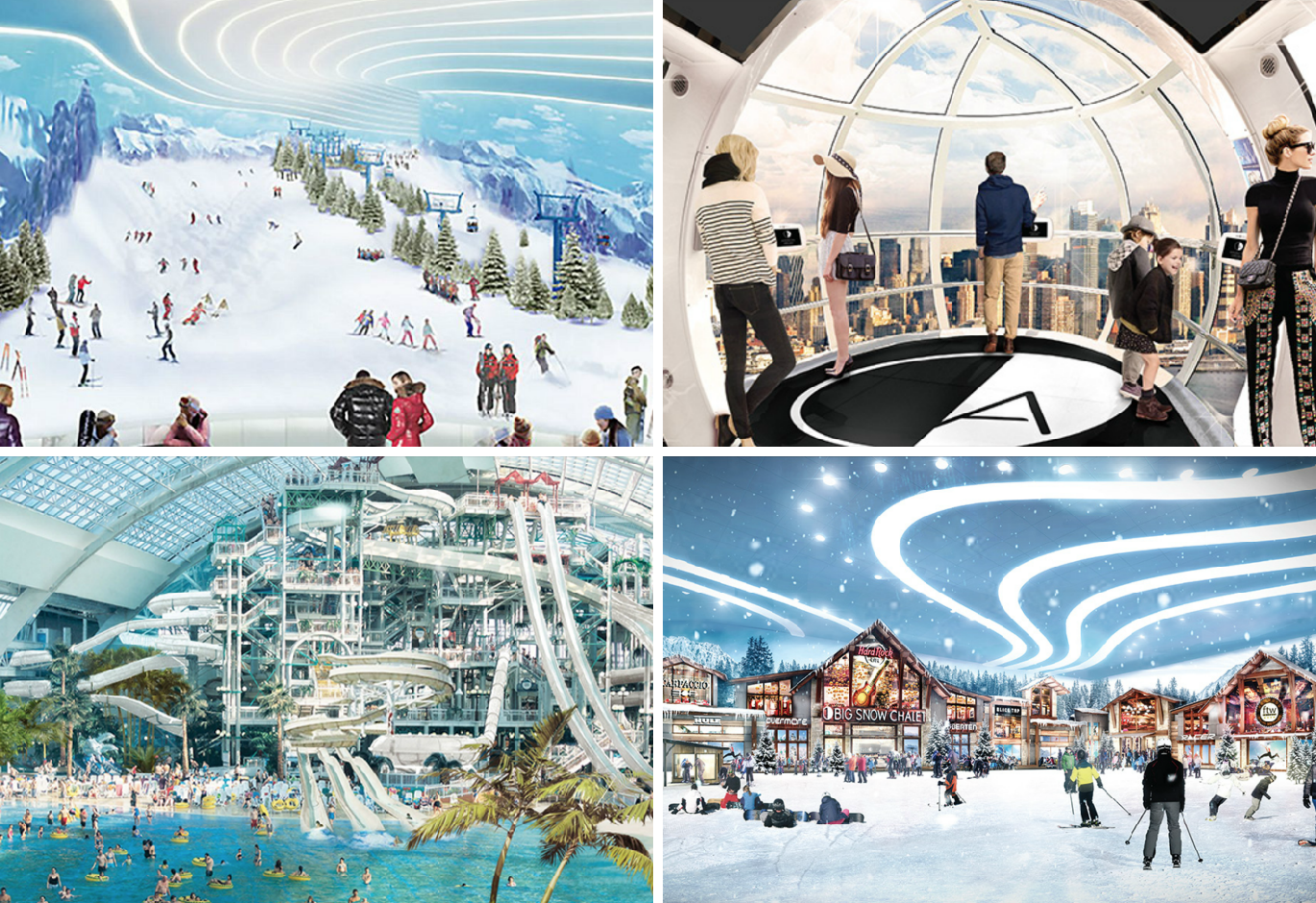 see the 800-foot indoor ski slope, water park, and observation wheel