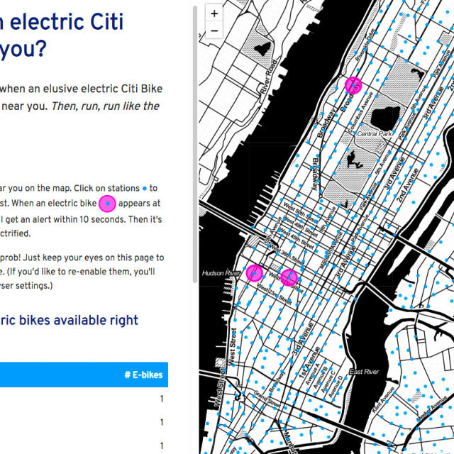 Find one of those elusive electric Citi Bikes with this interactive map