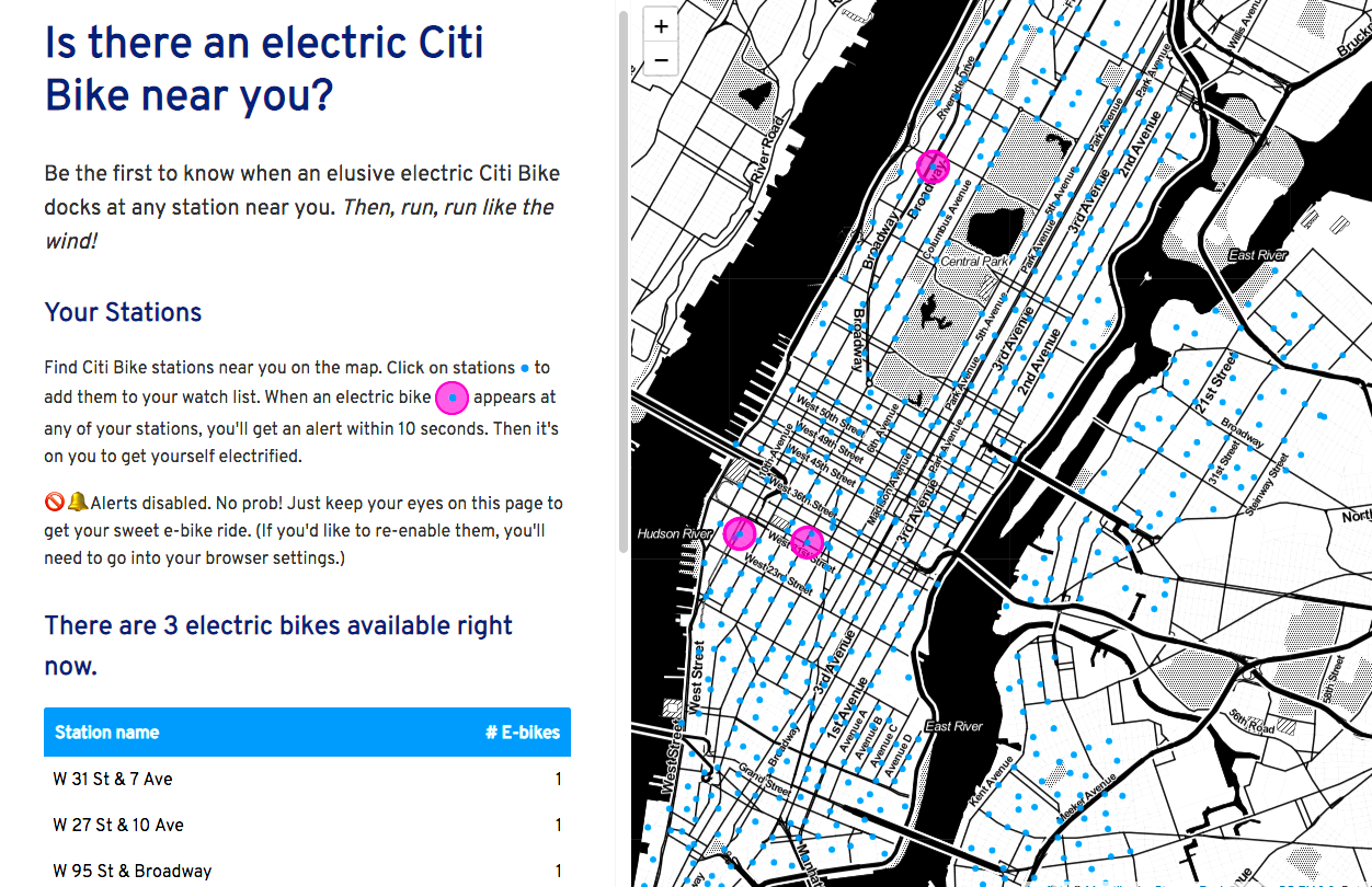 Find one of those elusive electric Citi Bikes with this interactive Citibike Location Map on
