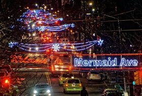 Mermaid Avenue, Coney Island holiday lights