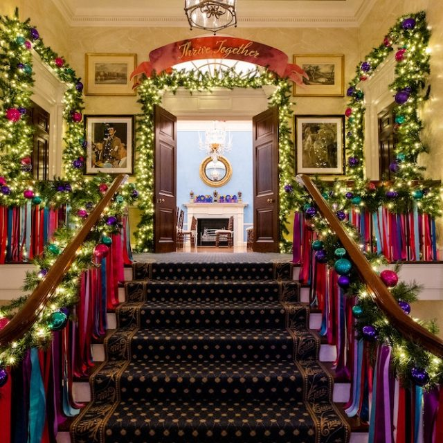 A behind-the-scenes look at Gracie Mansion's colorfully festive holiday decorations