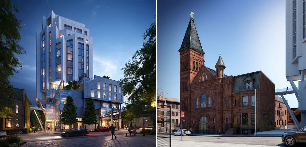 LPC approves sky bridge between landmarked Williamsburg church and new residential tower
