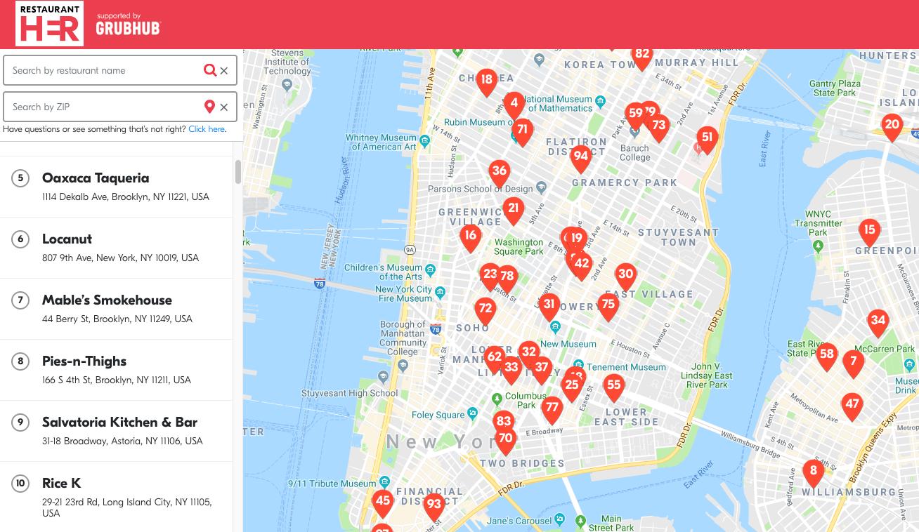 Grubhub Maps All Of The Restaurants In Nyc Run By Women 6sqft