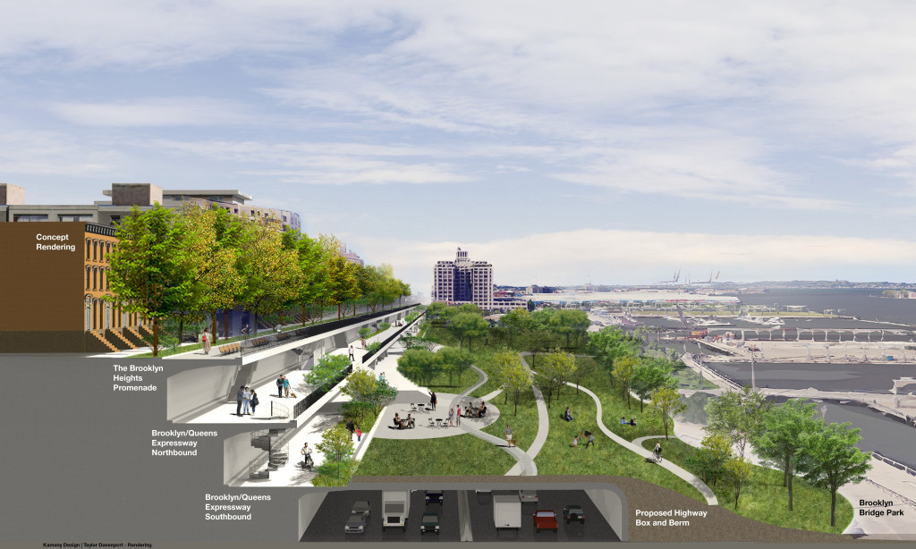New proposal turns the BQE's triple cantilever into a three-level linear park