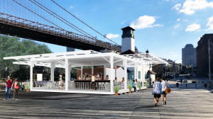 Fulton Ferry landing concession, restaurants, DUMBO, 1 water street, Sterling architecture