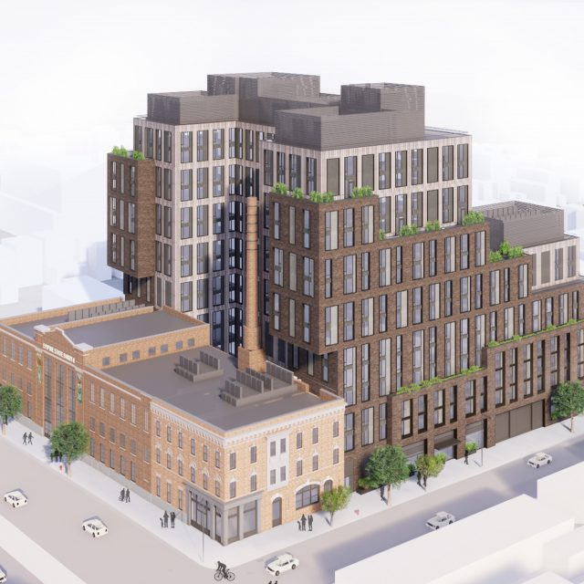 14-story cantilevered complex proposed for East New York's landmarked Empire State Dairy building