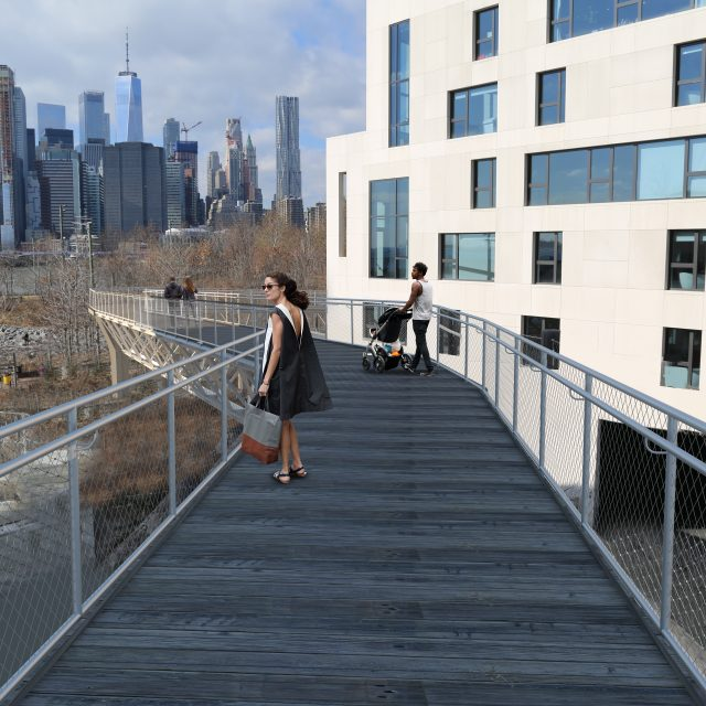 New renderings show rebuilt, non-bouncing Squibb Bridge in Brooklyn Bridge Park