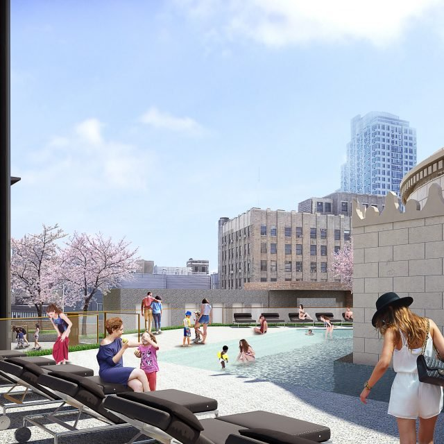 At 9 DeKalb, SHoP Architects reveal a rooftop pool wrapping around Dime Savings Bank's dome