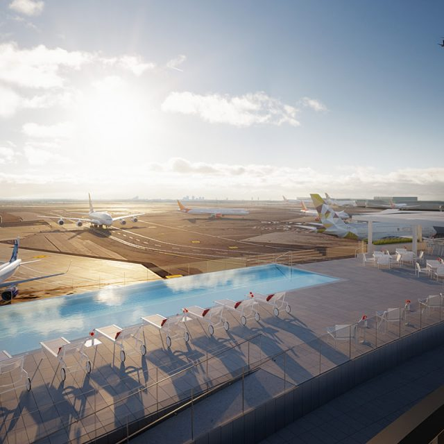 TWA Hotel reveals first look at rooftop infinity pool and observation deck