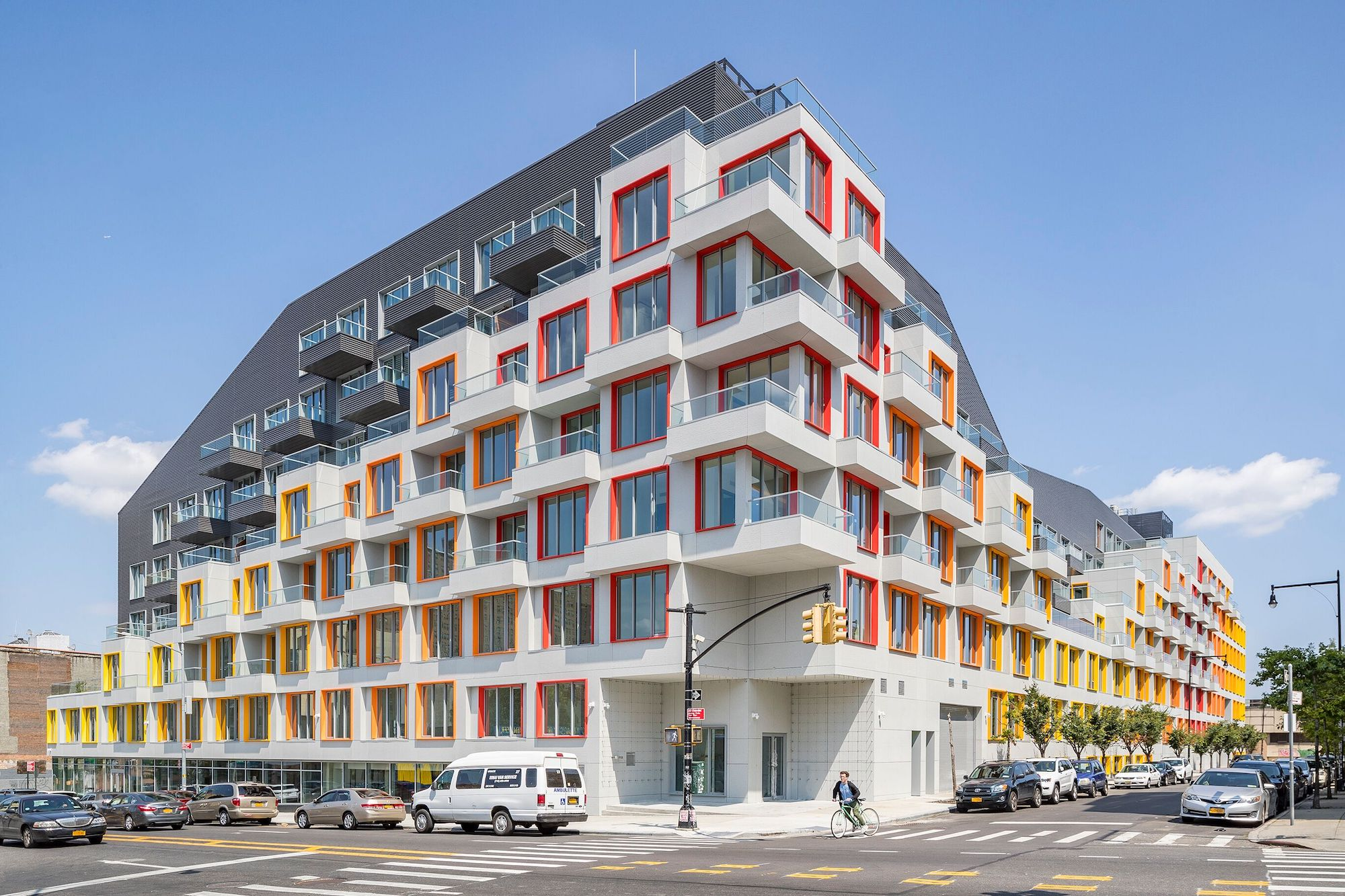 New photos of ODA's Bushwick rental highlight its sloping, sunset-hued  facade