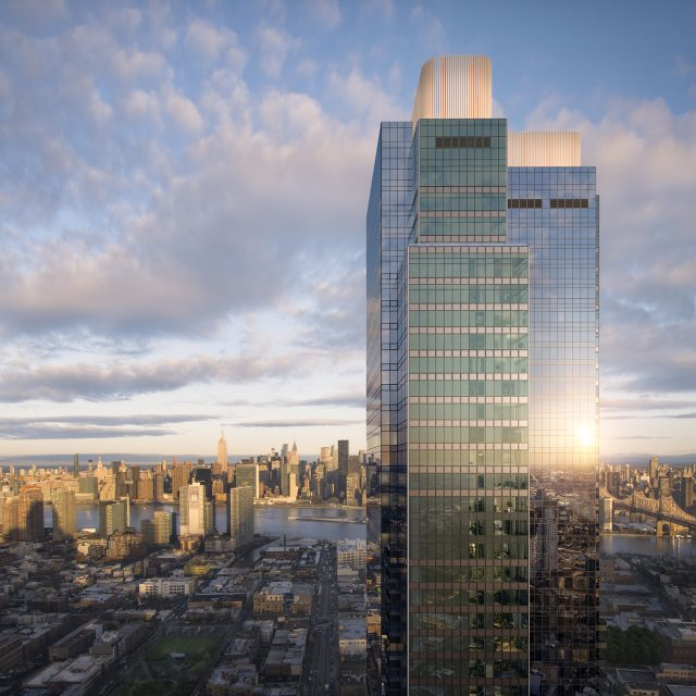 Skyline Tower, NYC's tallest building outside Manhattan, tops out