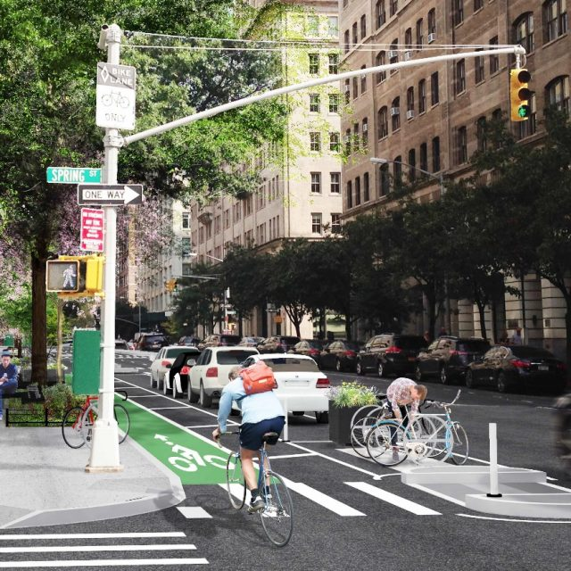 Hudson Street's transformation to a 'grand allée' with wide sidewalks and bike lanes progresses