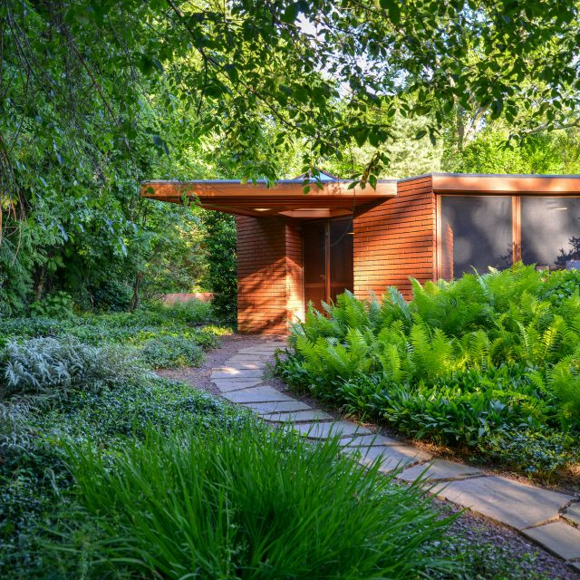 Frank Lloyd Wright's unique hexagonal house in Glen Ridge, NJ is back on the market for $1.2M