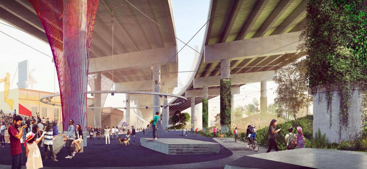 A new seven-acre park will open under the Kosciuszko Bridge in Greenpoint