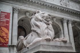 library, NYPL, lions