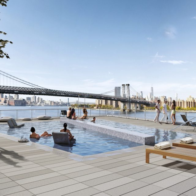 Williamsburg's tallest building opens in Domino complex with an outdoor pool and rooftop cabanas