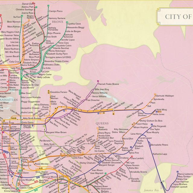 New City of Women map assigns a significant female figure to all 424 subway stations