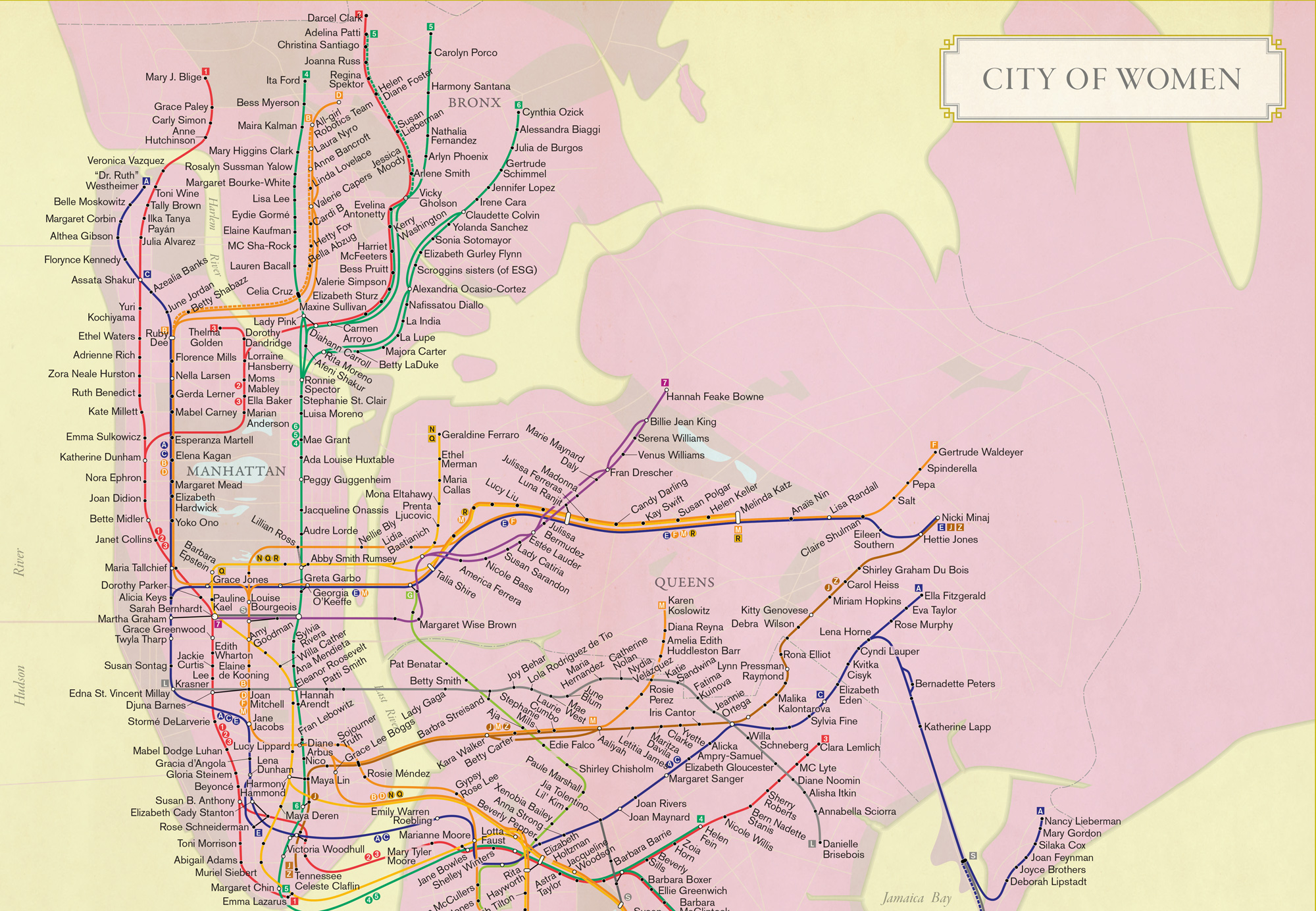 New City of Women map assigns a significant female figure to ...