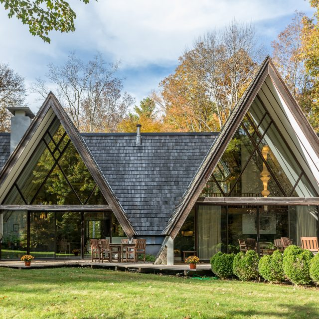 Mid-century-modern meets rustic retreat at this $835K A-frame home in Connecticut
