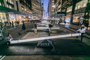 Garment District Alliance, public art NYC, public seesaws, Impulse