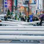 Garment District Alliance, public art NYC, public seesaws, Impulse