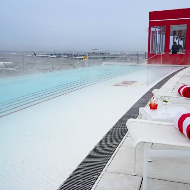The TWA Hotel's rooftop is now a retro Alpine-themed retreat with a heated 'pool-cuzzi'