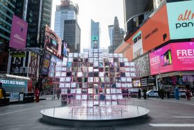Times Square Arts, Valentine's Day heart 2020, eric forman studio, MODU, public art