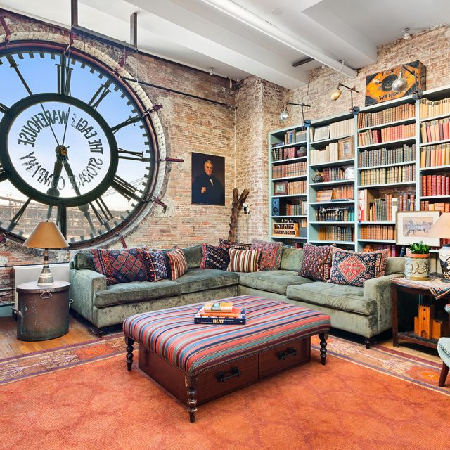 In Brooklyn Heights' Eagle Warehouse, live behind a 19th-century industrial clock for $2.35M