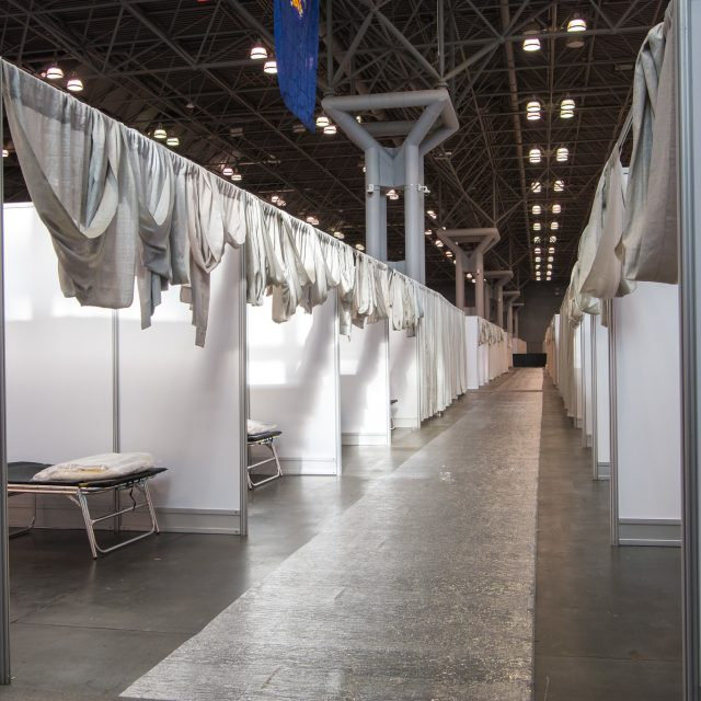 Inside the 1,000-bed temporary hospital at the Javits Center