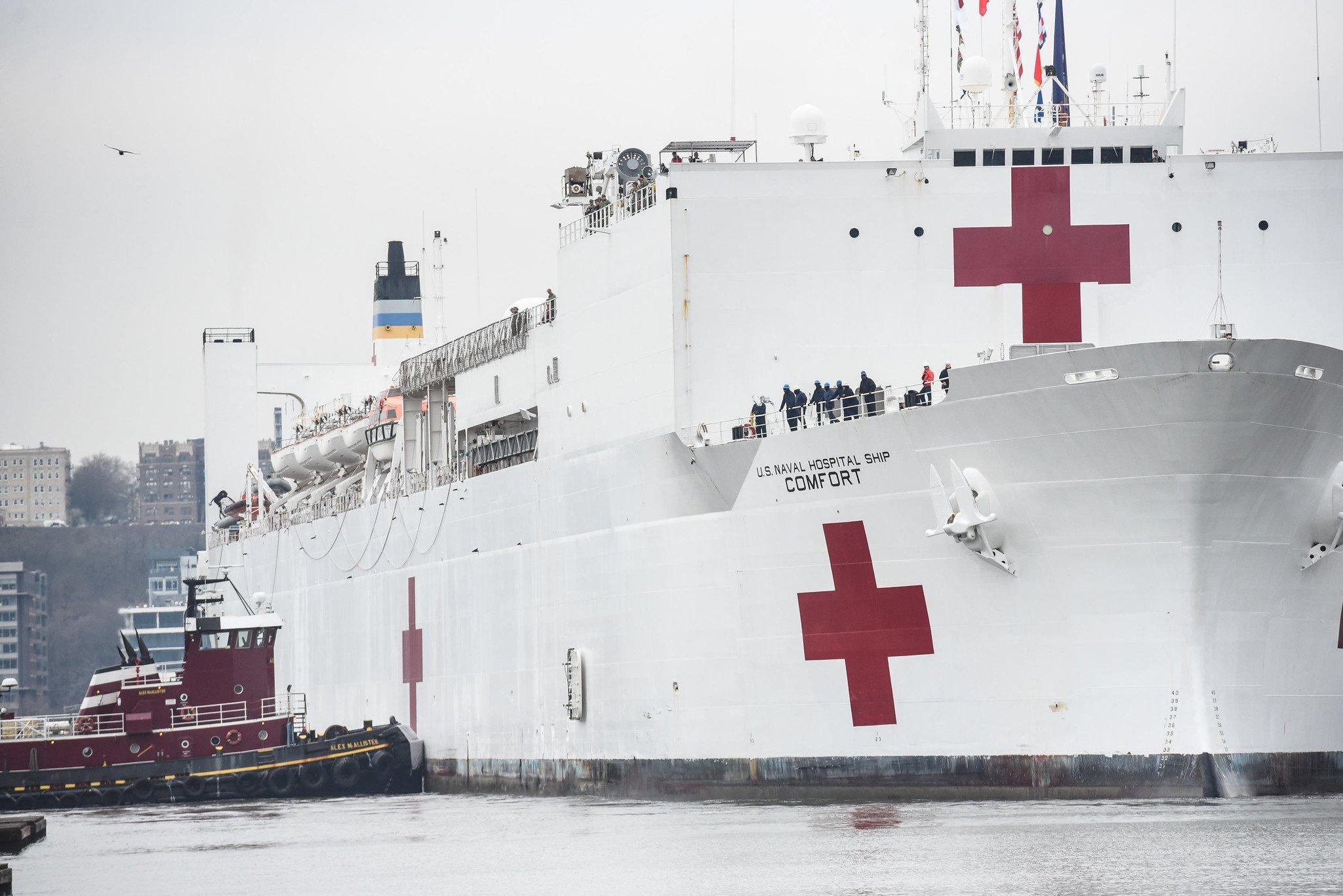 Hospital ship sails into NY